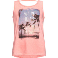 Full Tilt Salty Air Bar Back Girls Tank Peach  In Sizes