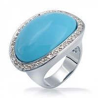 Bling Jewelry Oval Turquoise Ring