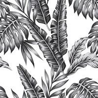 Retro Palms Black Wallpaper