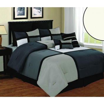 8pc Luxury Comforter Set- Deco- Black/ Grey/ White