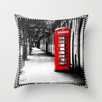 London Calling - Classic British Telephone Box Throw Pillow by Mark E Tisdale