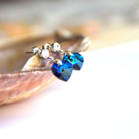 Earrings rhodium plated hooks with blue hearth swarovski crystal, wedding, bridesmaid, christmas, valentine's, mother's day.