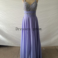 2014 long lavender chiffon prom dresses with rhinestone,halter v-neck gowns for evening party,cheap homecoming dress hot.