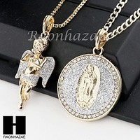 ANGEL & GUADALUPE ROUND PENDANT BOX CUBAN CHAIN DOUBLE NECKLACE SET SD3