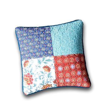 """DaDa Bedding Set of 2 Bohemian Vibes Patchwork Floral Throw Pillow Covers, 18"""" (JHW878)"""