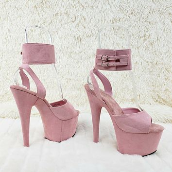 """Adore 791FS Baby Pink Platform Shoes Sandals 7"""" High Heels Wide Ankle Cuff NY"""