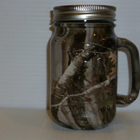 Camo Mason jar redneck beer mug in next camo.