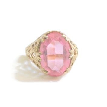 Large Pink Faceted Oval Glass Domed Solitaire Statement Ring, Filigree Setting In Gold Tone