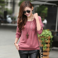 NEW 2015 European spring Autumn Elegant women Tops O-Neck Long Batwing Sleeve Shirt Women Blouse With Button 3 colors = 1946712004