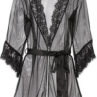 L'Agent by Agent Provocateur - Idalia lace-trimmed tulle robe
