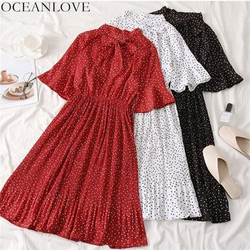 OCEANLOVE Vintage Dot Flare Sleeve Knee-length Dress Summer Bow Collar Lace Up Women Dresses A-line Pleated Vestidos 11484