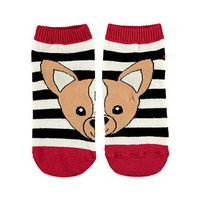 Striped Chihuahua Ankle Socks