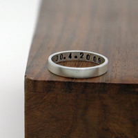 Personalized Hand Stamped Custom Date or Words Ring, Simple Sterling Silver Stack Band Ring - Brushed Satin Finish