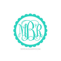 Monogrammed Decal Sticker - Scallop Circle