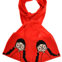MISS MARC Intarsia Red Scarf