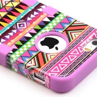 iPhone 5S Case,Pandamimi ULAK(TM) Hybrid High Impact Tribal Soft TPU + Hard PC Case Cover for Apple iPhone 5S 5 5G with Screen Protector and Stylus (Black Zebra + Blue)