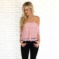 Poppy Floral Crochet Top in Pink