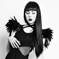 Versatile wings - black feather shrug harness and collar Feather epaulets Edgy fashion shoulder accessories