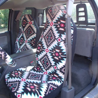 Reserved for Robin, Full Set Of Shadow Diamond Turquois Print Seat Covers and the  Steering Wheel Cover Custom Made Car Seat Covers,