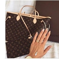 LV Women Shopping Leather Tote Handbag Shoulder Bag Tagre™