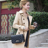 2014 New Spring Autumn Women Coat Medium-Long Trenchcoat Sashes Thin Women Casual Dress Coat For Women = 1920099588