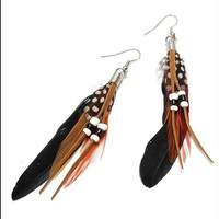 Women Indian Black Feather Dangle Drop Earring