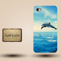 unique iphone case, i phone 4 4s 5 case,cool cute iphone4 iphone4s  5 case,stylish plastic rubber cases cover,blue sea  dolphin  jump  p957