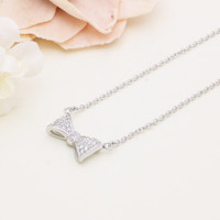 925 sterling silver pave cubic zirconia ribbon/ bow tie necklace