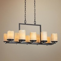 "Luminous Rustic Ebony Finish 10-Light 37"" Wide Chandelier - #76718 