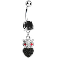 Black Gem and Paved Heart For the Love of Owls Dangle Belly Ring | Body Candy Body Jewelry