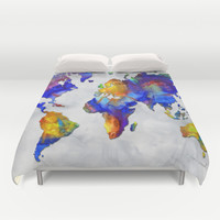 Original Vibrant Colorful World Map Pop Art Style Painting By Megan Duncanson Duvet Cover by Megan Aroon Duncanson ~ MADART