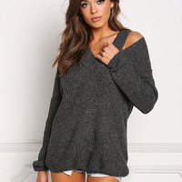Charcoal Thick Knit Cold Shoulder Sweater Top