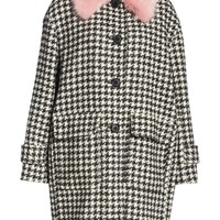 kate spade new york faux fur trim houndstooth coat | Nordstrom