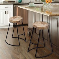 """30"""" Saddle Seat Bar Stool with Metal Legs, Brown and Black By The Urban Port"""