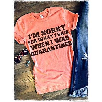 I am sorry for what i said when i was quarantined tee