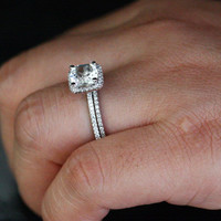 14k White Gold 7mm White Topaz Cushion Single Halo Diamond Ring and Wedding Band set (Choose color and size options at checkout)