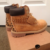 Spiked, Painted Cheetah Print Timberland Boots