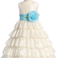 (Sale) Ivory Taffeta Blossom Flower Girl Dress with 5 Tiers of Ruffles (Girls 12 months - Size 12 & Plus Sizes)