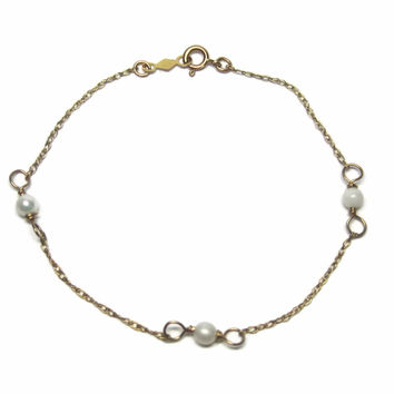 Small Vintage 14k Pearl Bracelet 5.5 Inches