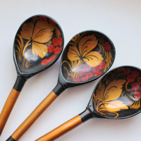Set of 3 Vintage Soviet wooden spoons, Soviet cutlery. Russian Khokhloma. Kitchen decor