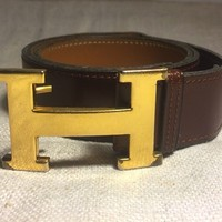 hermes belt, men hermes belt, women hermes belt, belt, belt hermes, belts for men, belts for women, Leather belt, men belt, mens belt, women belt,Hermes Paris Vintage Authentic Gold Plated H Buckle Leather Belt