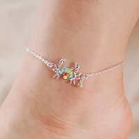Crab Seed Bead Chain Link Anklet