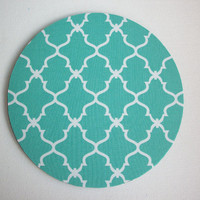 Computer Mouse Pad mousepad / Mat - Round or rectangle - Trellis in aqua blue - cubicle decor office desk gift