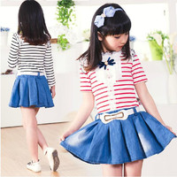 Girls Dress Sweet Spring and Summer Fashion Lace Cowboy Children Skirt Stripes Cute Doll Brought Princess Short Sleeve Sweet Girls Clothing