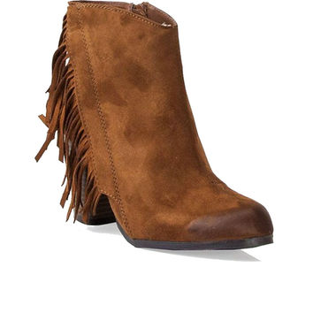 Qupid Sake Fringe Western Ankle Booties in Rust