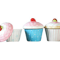 SHAB HOME ACCESSORIES: Set di 3 ciotoline in ceramica Cupcakes - 8x10x8 cm