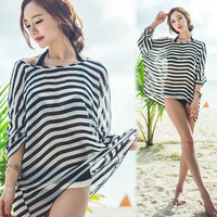 Fashion Sexy Women's 3/4 Batwing Sleeve O-neck Stripe Beach Swim Cover-ups Loose-fitting Chiffon Tops Blouse F_B (Color: Black white) = 1945734596
