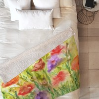 Rosie Brown Summer Flowers Fleece Throw Blanket