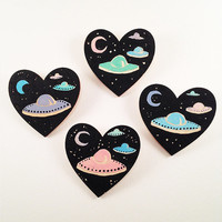 Hand Painted UFO Themed Wooden Heart Brooch