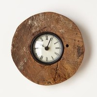 Reclaimed Wood-Wheel Clock by Anthropologie in Neutral Size: One Size Clocks
